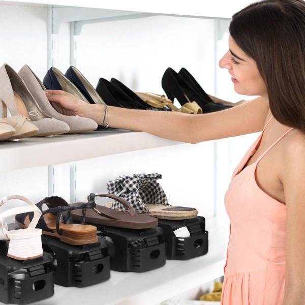 Conjunto 6 Organizadores de sapatos - Preto