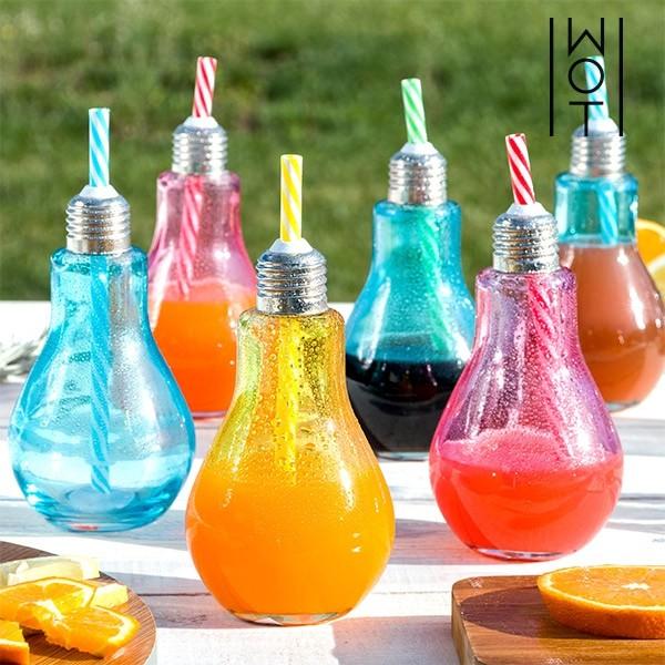 Copo em forma de Lâmpada coloridos com palhinhas