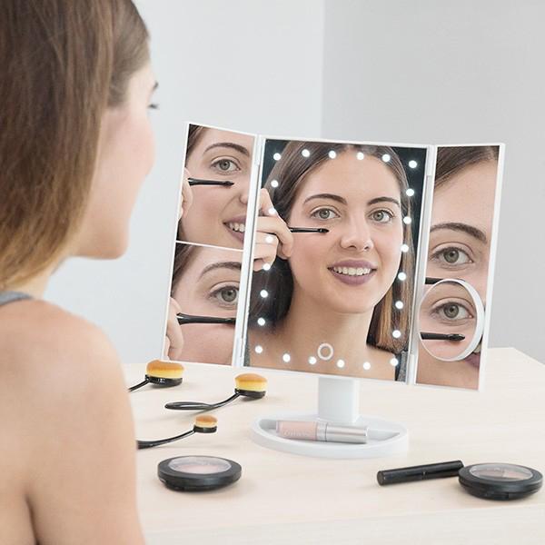 Espelho para maquiagem de aumento 4 em 1 com luz LED