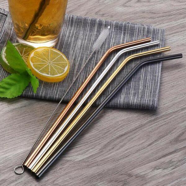 Kit 4 Palhinhas c/curvatura Aço Inoxidavel + Escovilhão