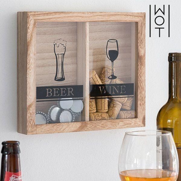 Quadro para tampas de vinho e cerveja